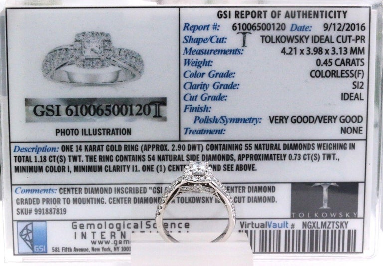 Tolkowsky Diamond Engagement Ring Princess 1.20 Carat F SI2 14 Karat White Gold For Sale 5