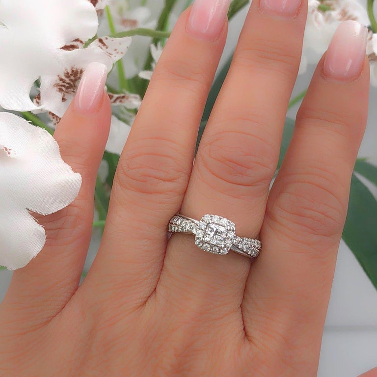 Tolkowsky Diamond Engagement Ring Princess 1.20 Carat F SI2 14 Karat White Gold For Sale 6