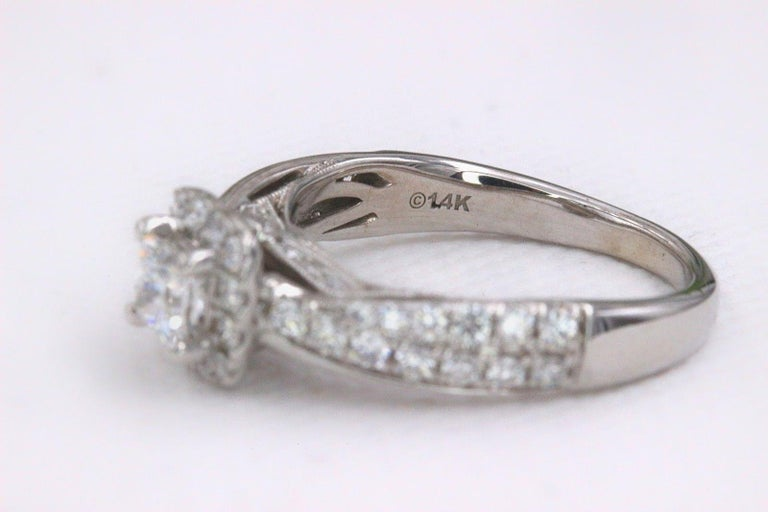 Princess Cut Tolkowsky Diamond Engagement Ring Princess 1.20 Carat F SI2 14 Karat White Gold For Sale
