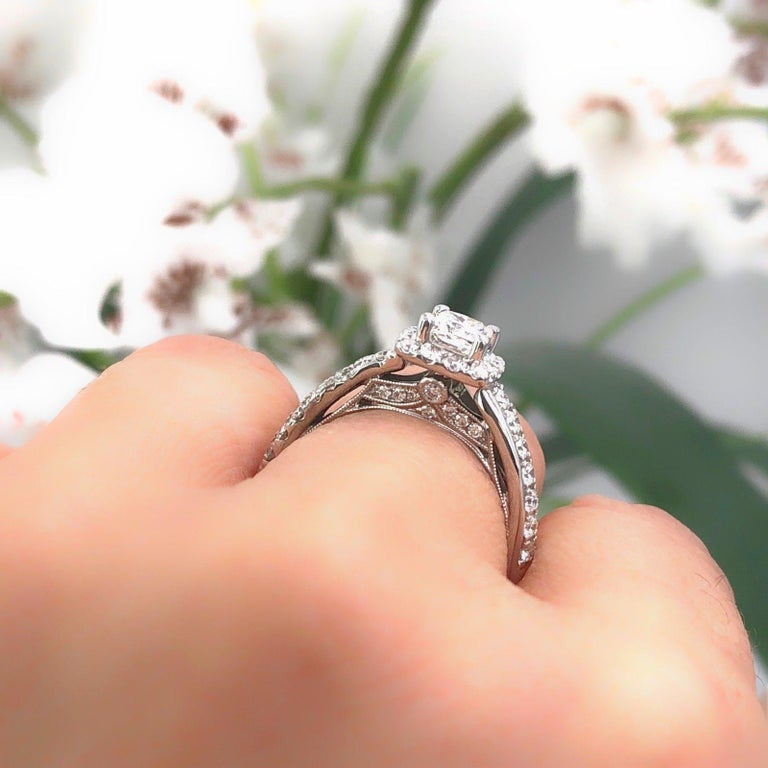 Tolkowsky Diamond Engagement Ring Princess 1.20 Carat F SI2 14 Karat White Gold In Excellent Condition For Sale In San Diego, CA
