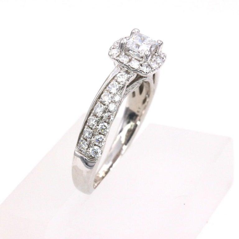 Women's Tolkowsky Diamond Engagement Ring Princess 1.20 Carat F SI2 14 Karat White Gold For Sale