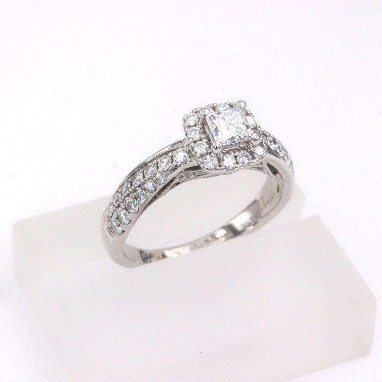 Tolkowsky Diamond Engagement Ring Princess 1.20 Carat F SI2 14 Karat White Gold For Sale 1