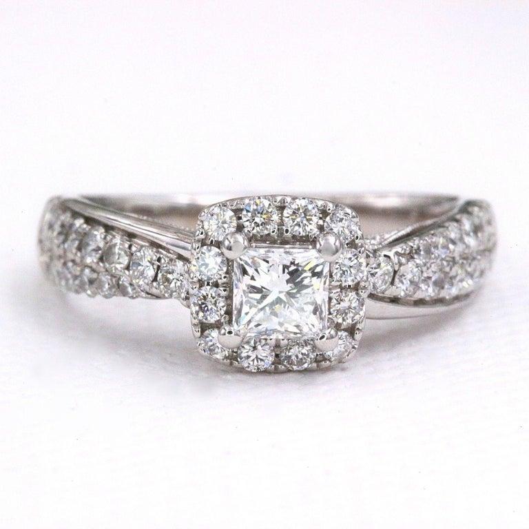 Tolkowsky Diamond Engagement Ring Princess 1.20 Carat F SI2 14 Karat White Gold For Sale 2