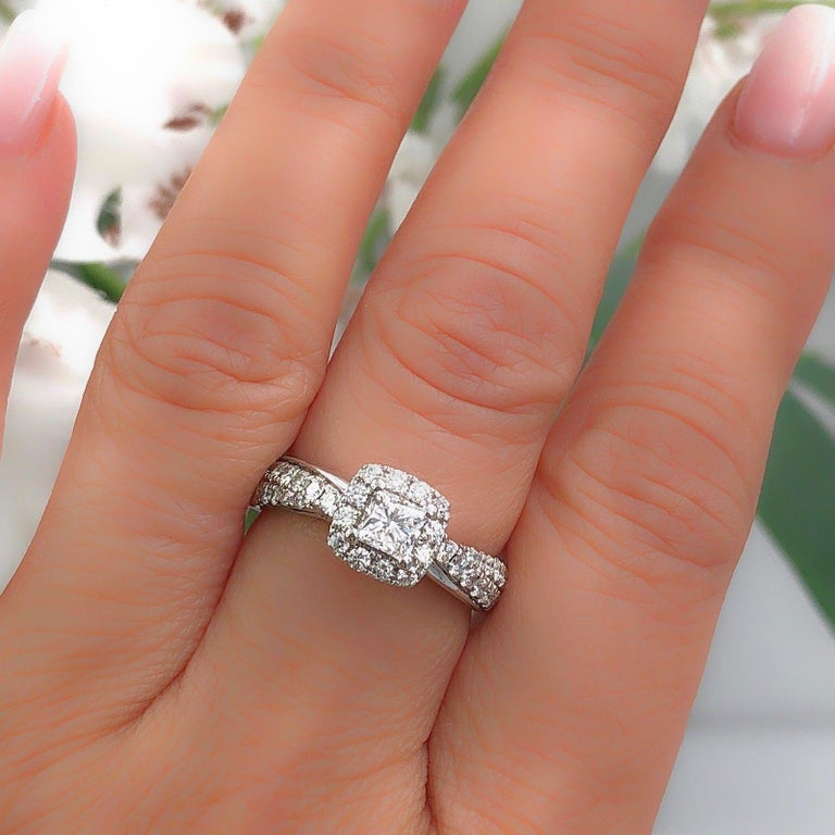 Tolkowsky Diamond Engagement Ring Princess 1.20 Carat F SI2 14 Karat White Gold For Sale 3