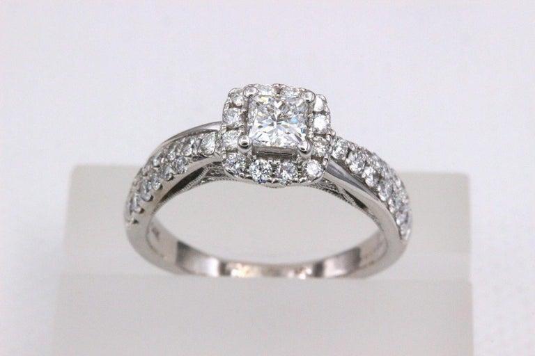 Tolkowsky Diamond Engagement Ring Princess 1.20 Carat F SI2 14 Karat White Gold For Sale 4