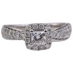 Tolkowsky Diamond Engagement Ring Princess 1.20 Carat F SI2 14 Karat White Gold
