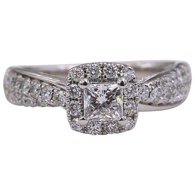 Tolkowsky Diamond Engagement Ring Princess 1.20 Carat F SI2 14 Karat White Gold For Sale
