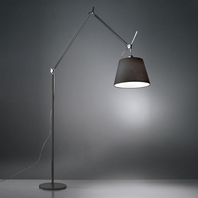 Modern Tolomeo Mega Black Fiber Floor Lamp by Michele De Lucchi & Giancarlo Fassina For Sale