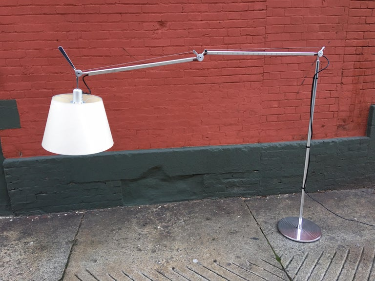 Large scale Tolomeo floor lamp by Artemide. Multi-adjustable lamp that can be used as a reading lamp or even over a dining room table. Very clean condition!