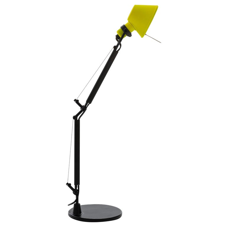 Tolomeo Micro Table Lamp in Black & Yellow by Michele de Lucchi & Giancarlo Fass For Sale