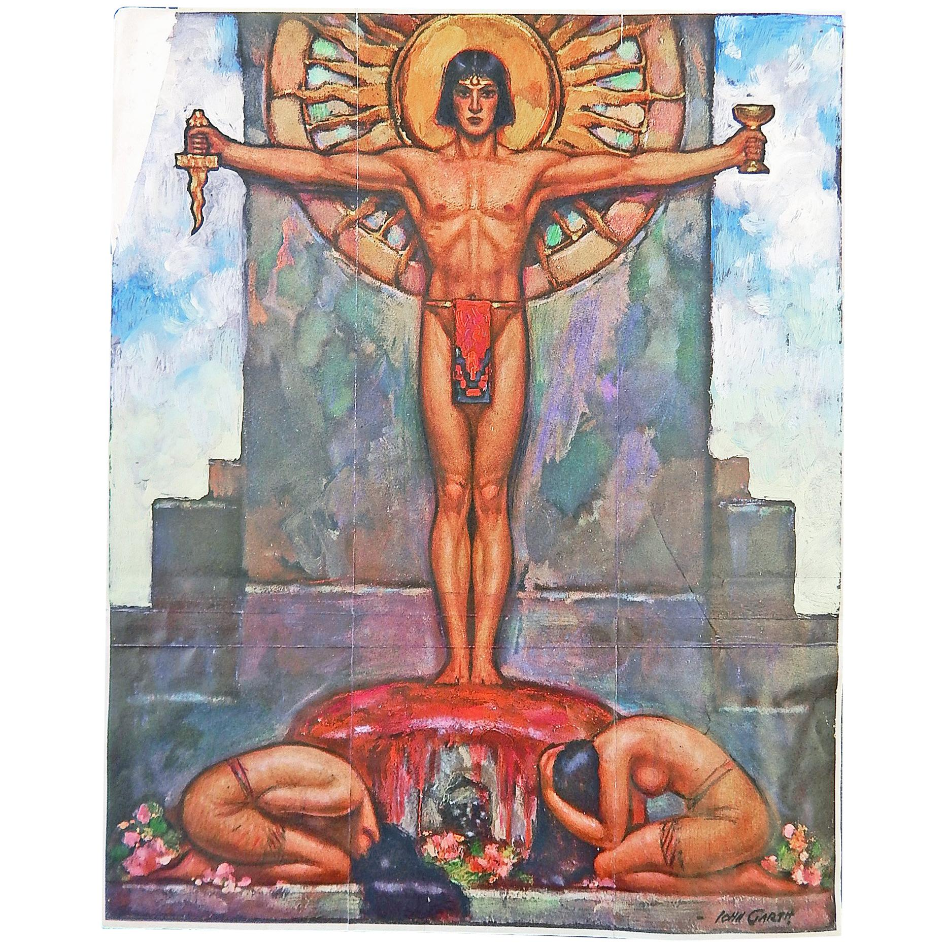 """""""Toltec,"""" Important Sketch for Art Deco Painting with Male and Female Nudes"""