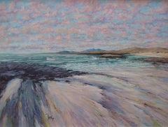 Across the Bay - seascape morning beach angelic painting pastel contemporary Art