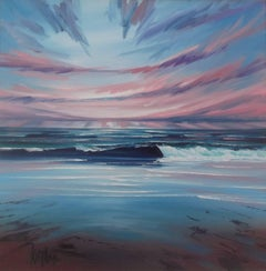 Atlantic Sunset - original seascape beach sky painting contemporary modern art