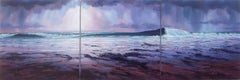 Light and Breakers (triptych) - original sea beach landscape night oil painting