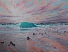 Summer Sunset Breakers - seascape oil painting contemporary modern 21st Century