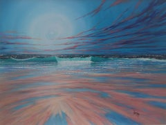 Sunset Breakers and Shore - seascape oil painting contemporary Art 21st Century