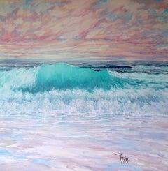 Sunset Breakers - original beach seascape painting contemporary modern holidays