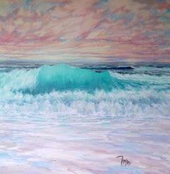 Sunset Breakers - original cloud seascape painting contemporary modern art