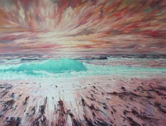 Sunset Promise - original seascape sunset painting contemporary Art beach