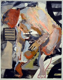 In the Hold, oil on paper, painterly, abstract, nude