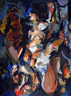 """""""Pete's Going Away,"""" colorful gestural abstraction, multiple figures"""