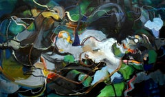 Pheromone B, abstracted sensual figure w swirling blues and greens