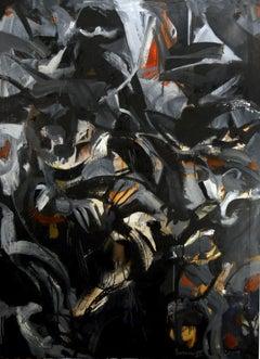 Purdah, dark tones, gestural abstract w figures, black, grey monochromatic