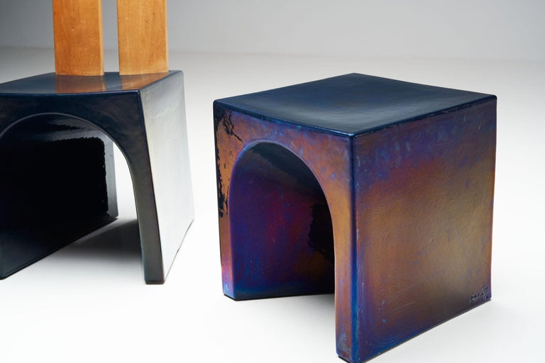 Tom Bruinsma Glazed Chair and Table for Mobach Ceramics, the Netherlands For Sale 4