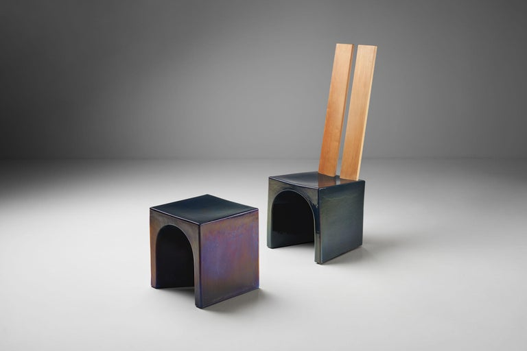 Mid-Century Modern Tom Bruinsma Glazed Chair and Table for Mobach Ceramics, the Netherlands For Sale