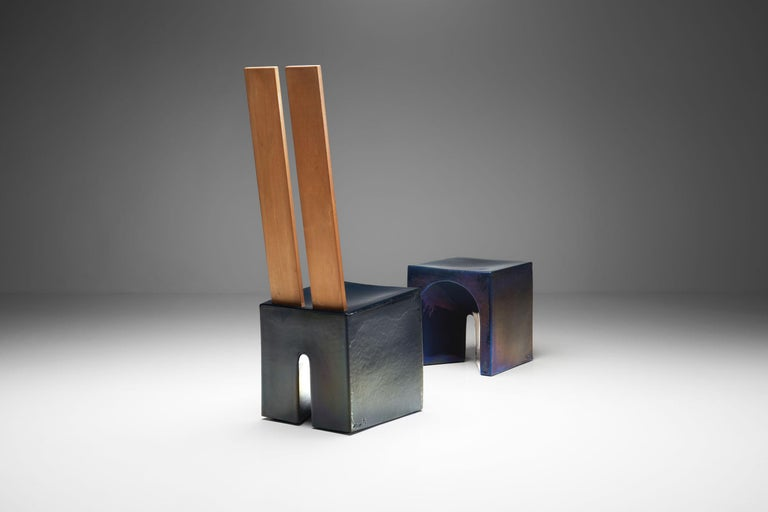 Dutch Tom Bruinsma Glazed Chair and Table for Mobach Ceramics, the Netherlands For Sale