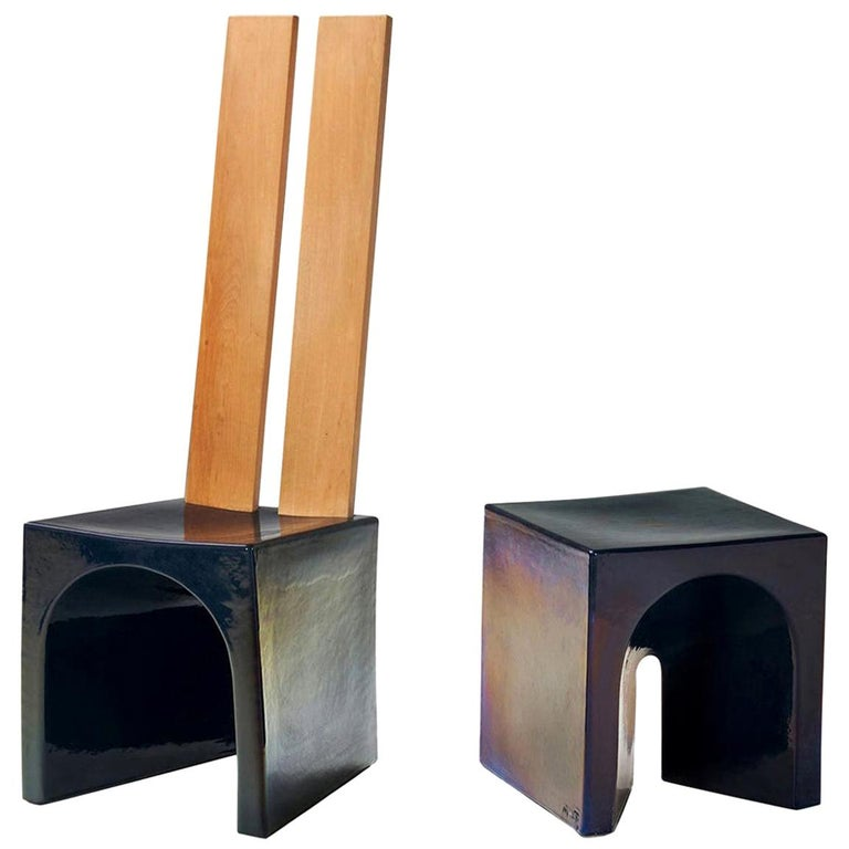 Tom Bruinsma Glazed Chair and Table for Mobach Ceramics, the Netherlands For Sale