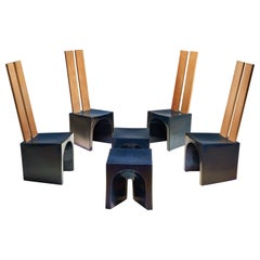 Tom Bruinsma Glazed Chairs and Tables for Mobach Ceramics, The Netherlands ca 19
