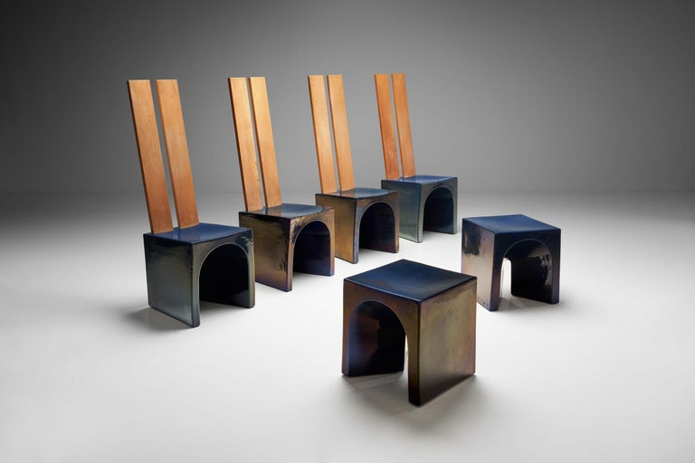 Mid-Century Modern Tom Bruinsma Glazed Chairs and Tables for Mobach Ceramics, the Netherlands For Sale