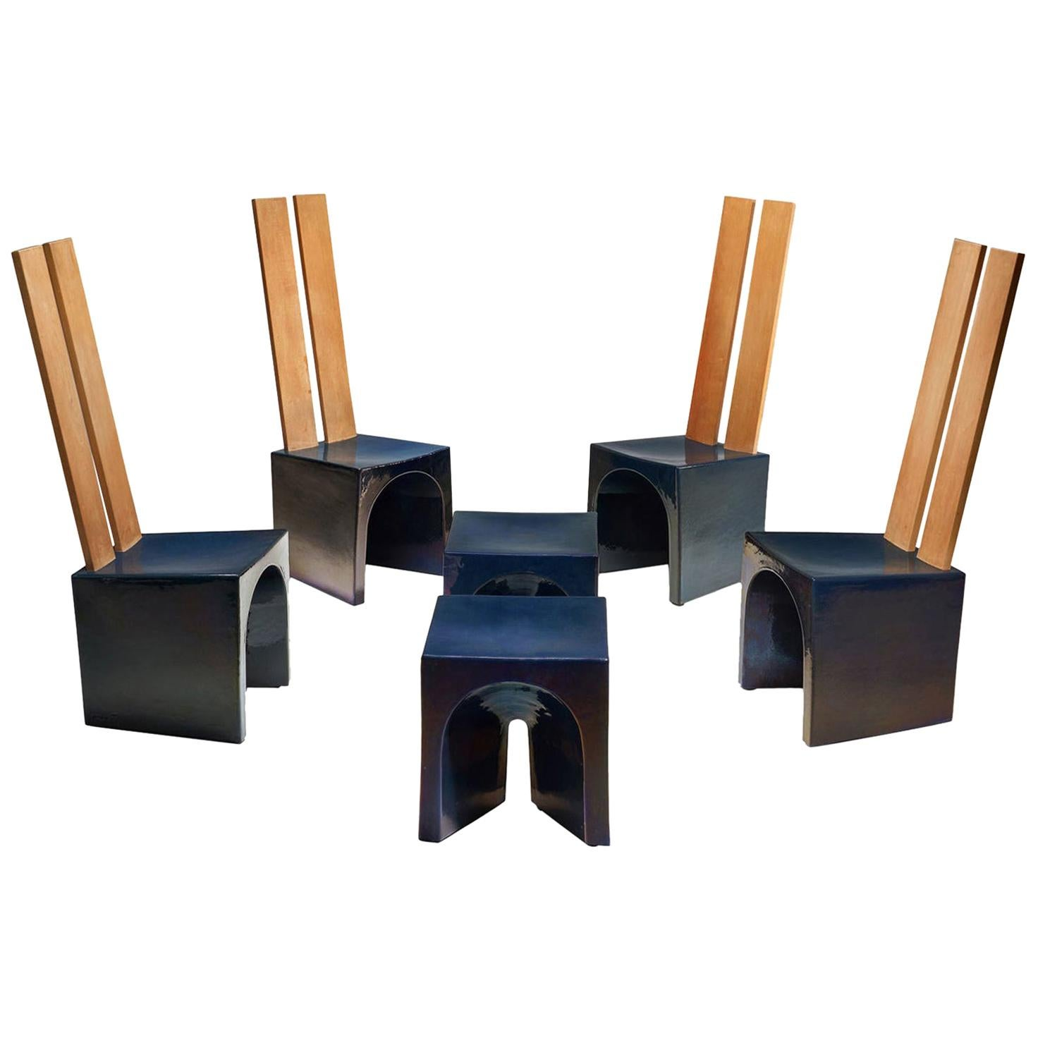 Tom Bruinsma Glazed Chairs and Tables for Mobach Ceramics, the Netherlands