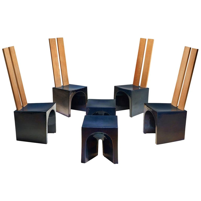 Tom Bruinsma Glazed Chairs and Tables for Mobach Ceramics, the Netherlands For Sale