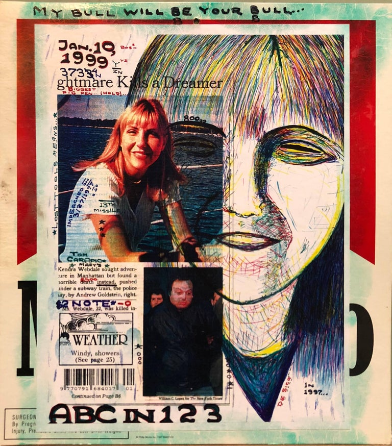 Mixed Media Outsider Art Original Photo Collage Drawing 2 Sided For Sale 1