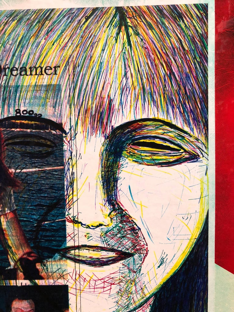 Mixed Media Outsider Art Original Photo Collage Drawing 2 Sided For Sale 3