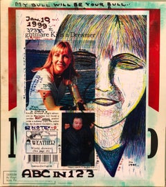 Mixed Media Outsider Art Original Photo Collage Drawing 2 Sided