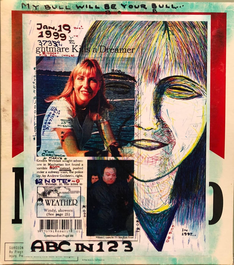 Mixed Media Outsider Art Original Photo Collage Drawing 2 Sided - Mixed Media Art by Tom Carapic