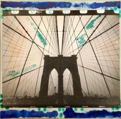 Mixed Media Outsider Art Original Photo Collage Painting Brooklyn Bridge NYC