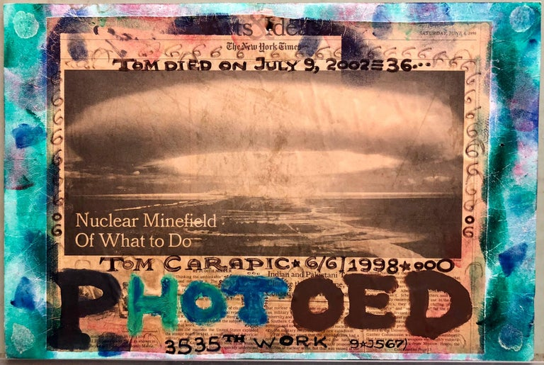 Mixed Media Outsider Visionary Art Newspaper Photo Collage 2 Sided Laminated For Sale 1
