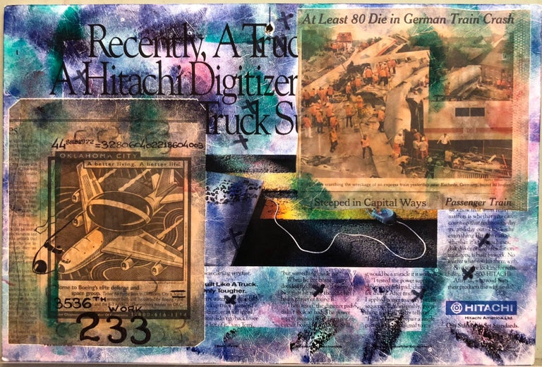 Mixed Media Outsider Visionary Art Newspaper Photo Collage 2 Sided Laminated For Sale 2
