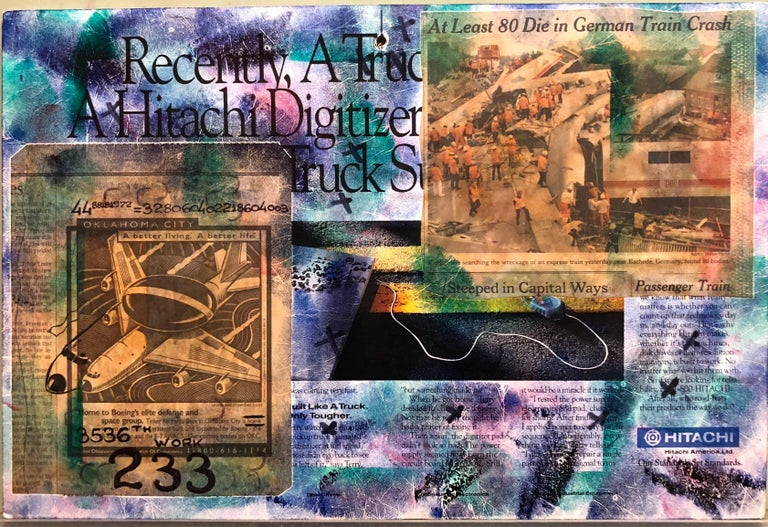 Mixed Media Outsider Visionary Art Newspaper Photo Collage 2 Sided Laminated For Sale 3