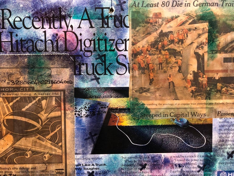 Mixed Media Outsider Visionary Art Newspaper Photo Collage 2 Sided Laminated For Sale 4