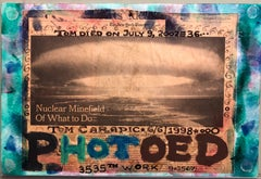 Mixed Media Outsider Visionary Art Newspaper Photo Collage 2 Sided Laminated