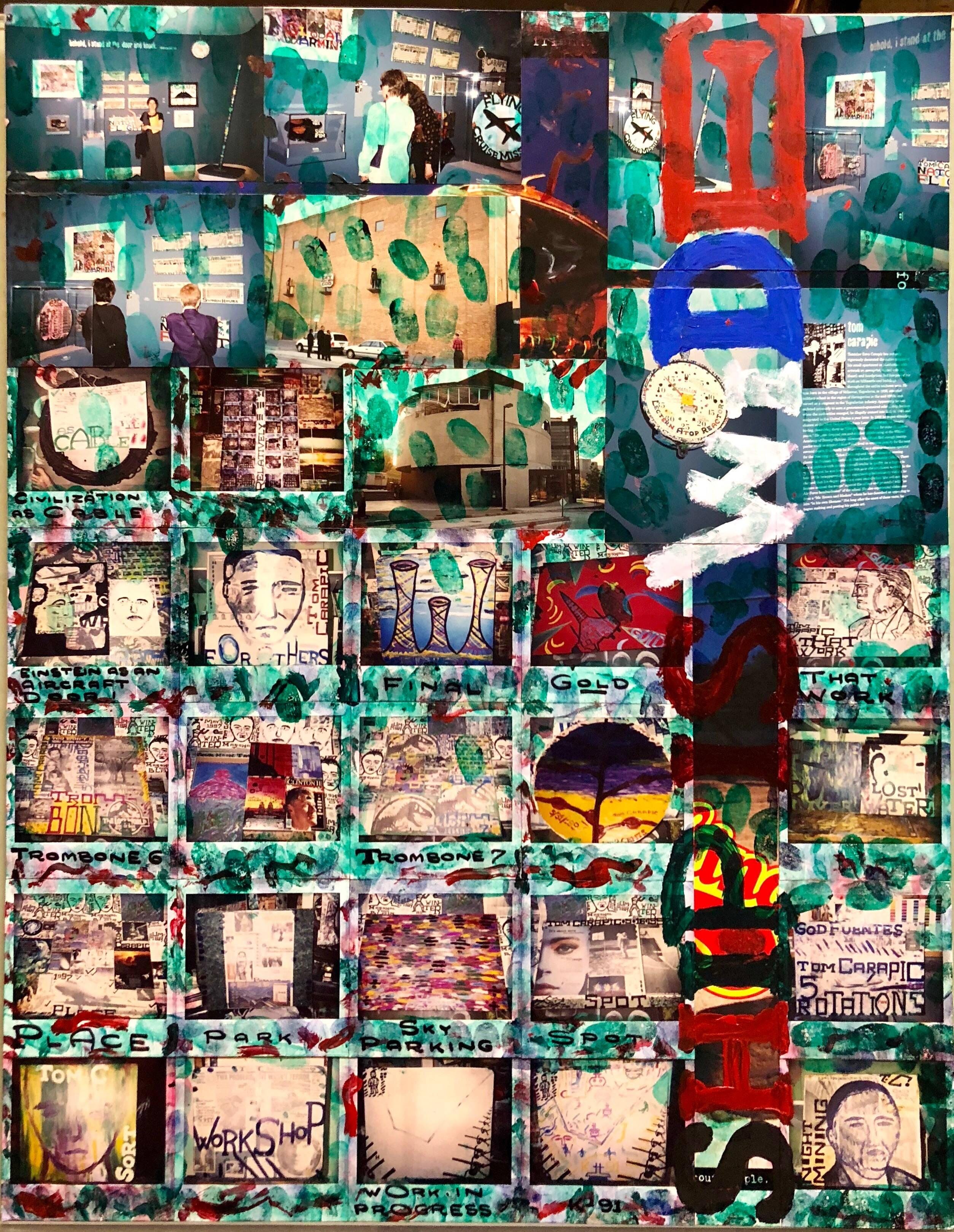 Mixed Media Outsider Visionary Art Polaroid Photo Collage Painting 2 sided