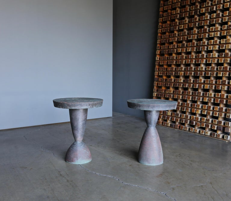 Tom Corbin pair of bronze Alexandra I & Alexandra II occasional tables. Each table is signed