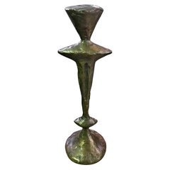 Tom Corbin Signed Bronze Natural Patina Totem Candlestick Sculpture