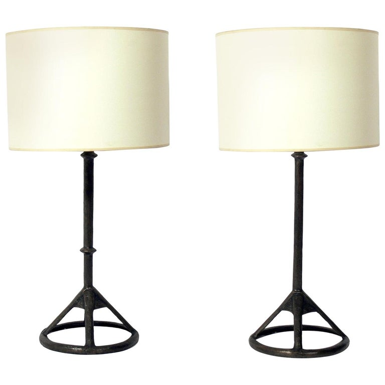 Tom Corbin Solid Bronze Table Lamps For Sale