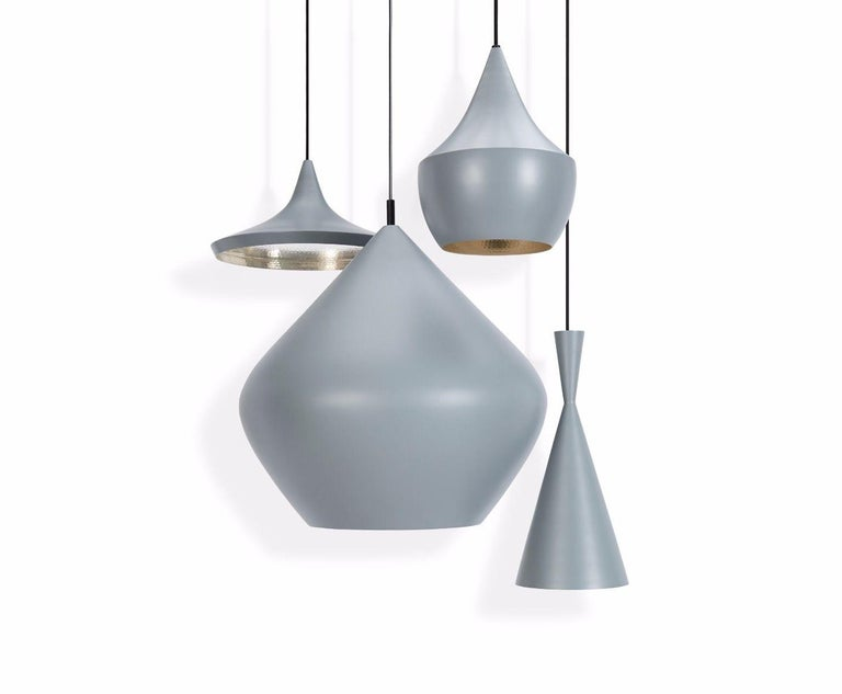 Minimal Tom Dixon beat wide white pendant brass light fixture, Contemporary. Gorgeous piece. Retails for 575 USD.